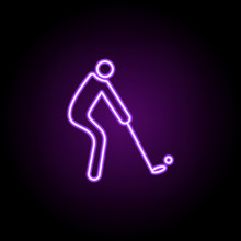 Golf Player Outline Icon. Elements Of Sport In Neon Style Icons. Simple Icon For Websites, Web Design, Mobile App, Info Graphics