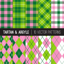 Pink Green Golf Vector Patterns In Argyle, Tartan And Gingham Plaid. Preppy Style Women's Golf Fashion Backgrounds. Birthday Party Or Charity Golf Events Decor. Pattern Tile Swatches Included.