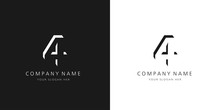 4 Logo Numbers Modern Black And White Design