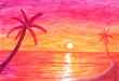 canvas print picture - Palm trees on calm ocean shore at sunset in watercolor
