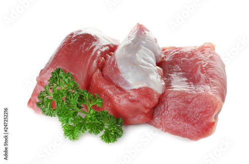 Raw meat with parsley on white background