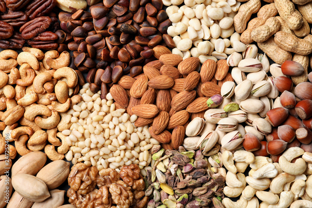 Fototapety, obrazy: Organic mixed nuts as background, top view