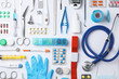 canvas print picture - Flat lay composition with medical objects on white background