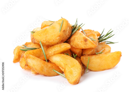 Baked potatoes with rosemary on white background
