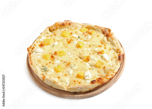 Hot cheese pizza Margherita on white background