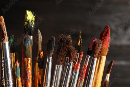 Different paint brushes on dark background, closeup