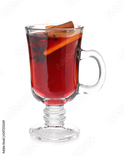 Glass cup of mulled wine isolated on white