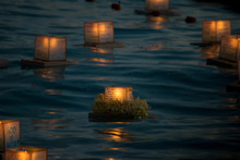 Floating Lanterns At Night