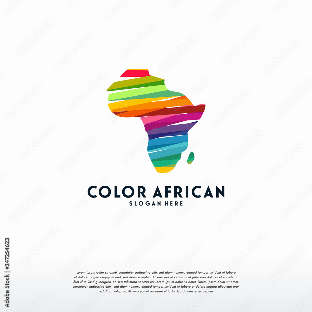 Fototapety, obrazy: Abstract Colorful African Map logo template