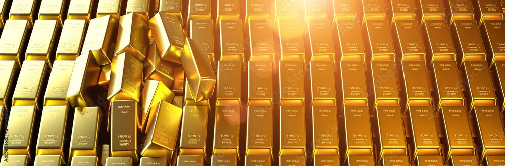 Fototapeta Gold bar close up shot. wealth business success concept..
