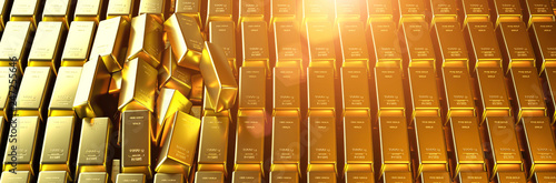 Fotomural  Gold bar close up shot. wealth business success concept..