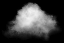 Cloud - White, Single, Isolated On Black Background