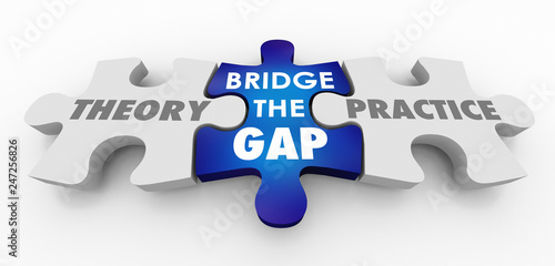 Cuadros en Lienzo  Theory Vs Practice Bridge the Gap Puzzle Pieces 3d Illustration