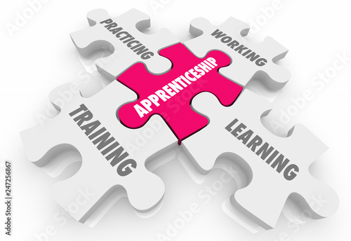 Photo Apprenticeship On the Job Training Learning Puzzle Pieces Words 3d Illustration