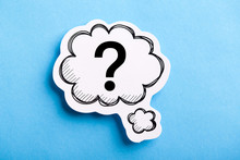 Question Mark Speech Bubble Isolated On Blue