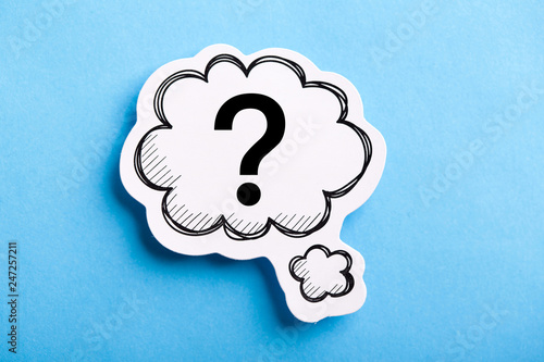 Photo  Question Mark Speech Bubble Isolated On Blue
