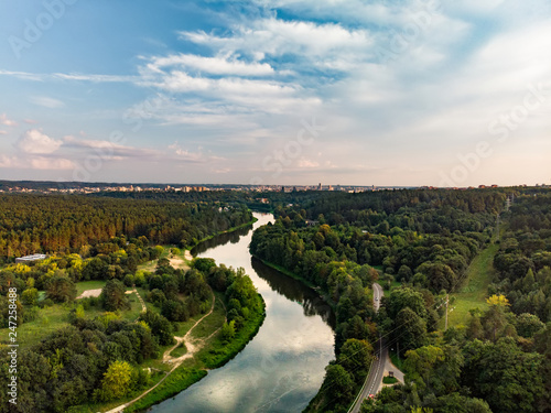 Canvas-taulu Beautiful aerial landscape of Neris river winding through Vilnius city