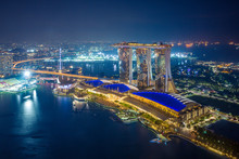 Skyline Of Marina Bay In Singapore At Night