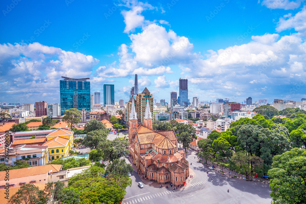 Fototapety, obrazy: Aerial view of Notre-Dame Cathedral Basilica of Saigon