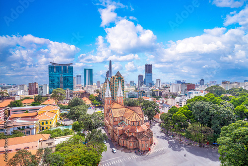 Foto Aerial view of Notre-Dame Cathedral Basilica of Saigon