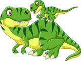 Fototapeta Dinusie - Cartoon Mother and baby dinosaur
