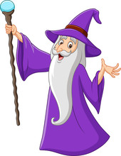 Cartoon Old Wizard Holding Mag...