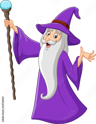 Photo Cartoon old wizard holding magic stick