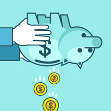Hand Holds Piggy Bank Upside Down, Coins Falling. Take Money, Stop Saving. Simple Style Vector Illustration