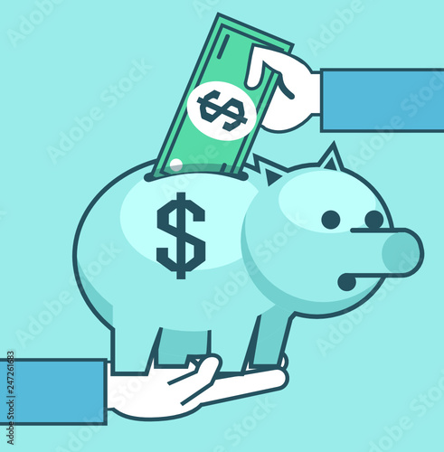 Fototapeta Hand holds piggy bank, puts money. Savings, charity, donate concept. Simple style vector illustration obraz