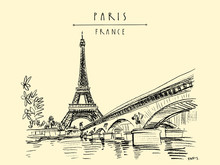Eiffel Tower In Paris, France. Vintage Hand Drawn Touristic Postcard