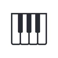 Piano Keys Outline Icon, Modern Minimal Flat Design Style, Vector Illustration