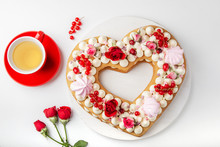 Homemade Trendy Heart Shaped Naked Cake For Valentines Day, White Background, Selective Focus