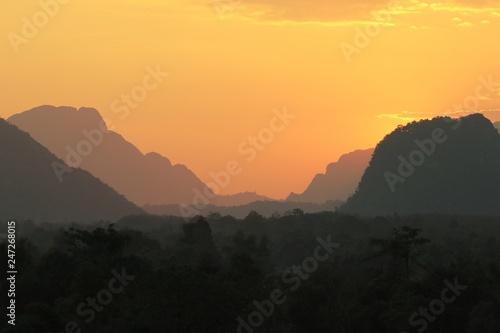 Poster Reflexion The sunset at Vang Vieng, Laos.