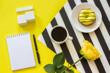 Empty Wooden Cubes Calendar Mock Up Tamplate For Your Calendar Date Cup Coffee, Donut Rose Stylish Napkin Notebook On Yellow Background Concept Good Morning Workplace Flat Lay Top-down Composition