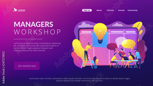 Managers at workshop training manager skills and brainstorming at board. Managers workshop, supervisors course, management skills training concept. Website vibrant violet landing web page template.