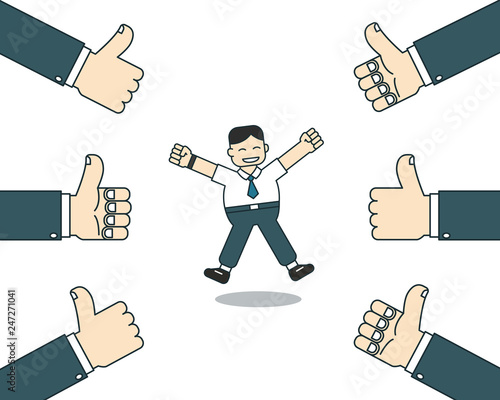 Fotografía  Cartoon happy businessman with many thumbs up hands for design.