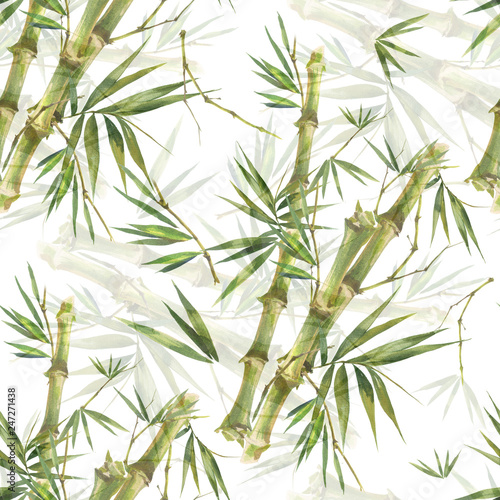 akwareli-ilustracja-bambusowi-liscie-bezszwowy-wzor-na-bialym-tle