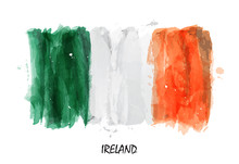 Realistic Watercolor Painting Flag Of Ireland . Vector