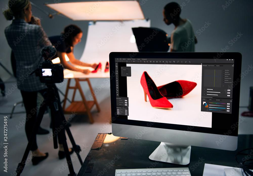 Fototapeta Product photography shoot of shoes - obraz na płótnie