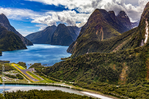 New Zealand. Milford Sound (Piopiotahi) from above - the head of the fiord, Cleddau River and Milford Sound Airport