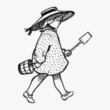 Vintage Victorian Girl Illustr...