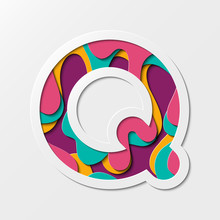 Paper Cut Letter Q Symbol. Realistic 3D Multi Layers Paper Cut Effect Isolated On White Background. Suitable For Fun And Happy Things.