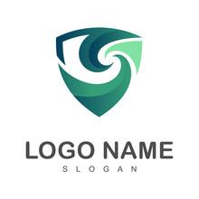 Wave Shield Logo, Shield Letter S Logo Template