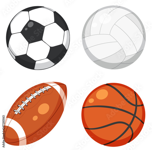 Fotomural Set of ball on white background