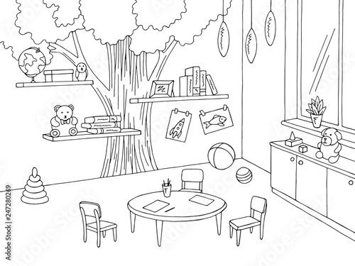 Foto op Canvas Drawn Street cafe Preschool classroom graphic black white kindergarten interior sketch illustration vector