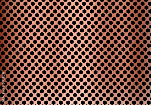 Fototapeta Abstract copper metal background made from hexagon pattern texture. Geometric black and red. obraz