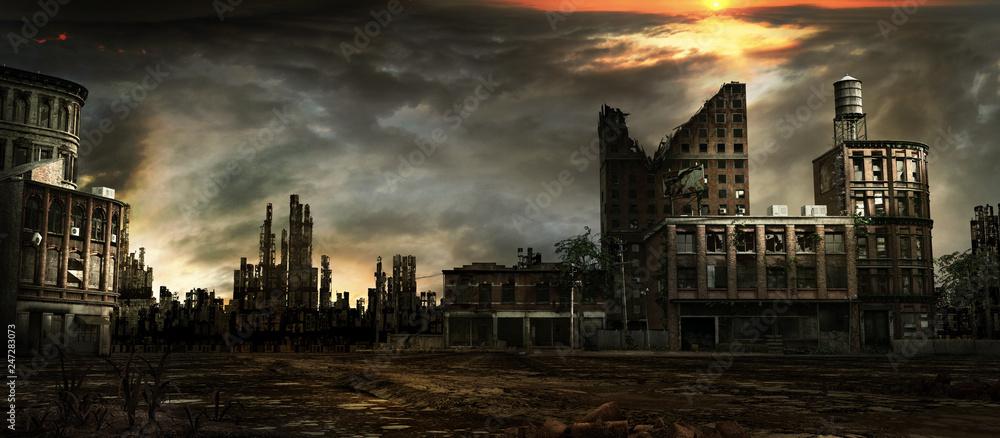Fototapety, obrazy: Stormy sky over city ruins