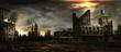 Stormy sky over city ruins
