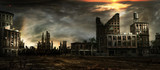 Fototapeta City - Stormy sky over city ruins