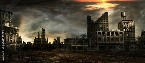 Stormy sky over city ruins Canvas Print